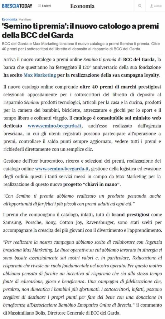 Brescia Today - Semino ti premia Catalogo Premi BCC Garda Max Marketing